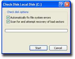 Image of the Check Local Disk (C:) dialog box