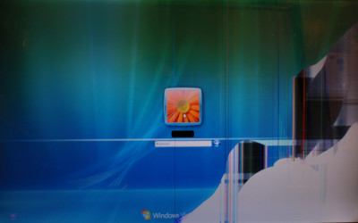 Cracked windows laptop screen
